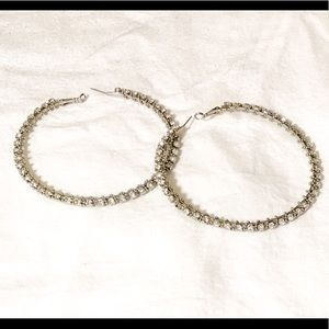 Big hoop diamond earrings